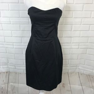 H&M Black Strapless Sheath Dress Zipper Mini